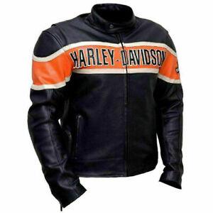 Harley Davidson Victoria Lane Biker Vintage Motorcycle Real Leather Jacket Mens