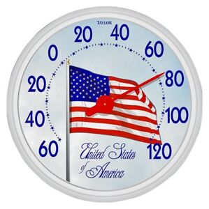 "NEW TAYLOR 6729 LARGE 13"" DIAL FLAG INDOOR OUTDOOR THERMOMETER 5408794"
