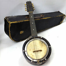 Antique Banjo Ukulele ( banjolin ) 8 stringed ' The Wonder 226 ' Case English