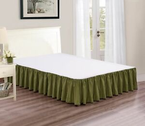 """Chezmoi Collection Solid Sage Ruffled 15"""" Drop Bed skirt Dust Ruffle, Cal King"""