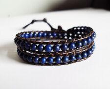 lapis stone leather wrap bracelet,women bracelet,size 12-15''handmade