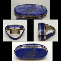 Antique Unique Lapis lazuli Stone Wonderful Old Silver Ring With Bird Intaglio
