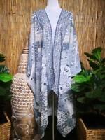 Plus Size Oversize Long Embellished Batwing Kimono OSFA 16-18-20-22-24-26