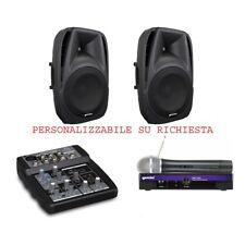 IMPIANTO AUDIO 818 per KARAOKE ANIMAZIONE con diffusori microfono wireless mixer