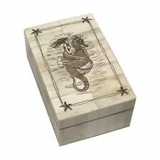 Sea Horse & Mermaid Scrimshaw Bone Jewelry Trinket Box Antique Vintage Style