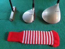 Knitted zebra style Fairway & Driver Golf Club head cover Flamenco Red / Silver