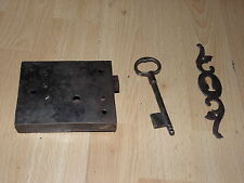 antique Door Lock latch KNOB KEY Works Shutter Wrought Cupboard Fronts Cast old