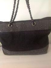 Noelle Black Denim Prewashed Silver Studed Large Tote Bag Designer Fashion Hip