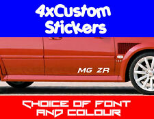 4x MG ZR ZS ZF TF MGF Custome Stickers Choice of Fonts, Colours + Text