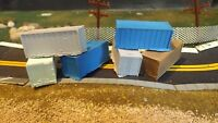 N-Scale 6 Unfinished Small Ribbed Shipping Containers  Model Train Detail