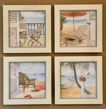 """Set of four 16"""" square beach-themed framed pictures, versatile & good condition"""