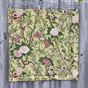 """POTTERY BARN Chinoiserie Pillow Sham Euro 26x26"""" Birds Bamboo Floral Green Pink"""