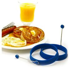 Blue Silicone Round Egg Muffin Pancake Lg Rings 2 Pc Set Recipes Norpro 994C New