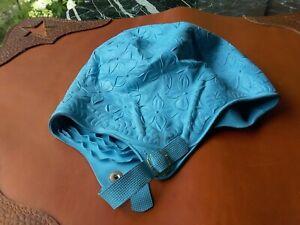 Vintage Rubber U.S. Holland Hair Dry Swim Cap-Floral w/Chin Strap Size 22 Blue!