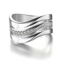 Fashion 925 Silver White Topaz Wedding Bride Ring Women Men Jewelry Ring Sz 6-10
