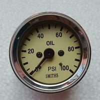 "Smiths Replica Mechanical Oil Pressure Gauge 52 mm magnolia 1/8"" npt thread"