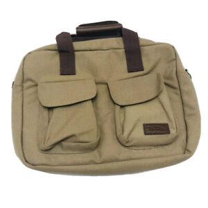 Bella Russo Computer Bag Two Tone Brown Canvas w/Shoulder Strap
