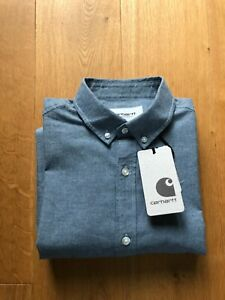 Carhartt WIP Kyoto Cotton Button-Down Collar Shirt, Blue. MEDIUM *RRP £75*