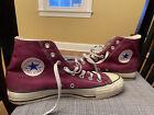 Vintage Converse All Star Chuck Taylor Shoes Maroon Hi Tops USA Mens 9 Worn