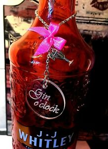 Gin o clock charm label Tag for bottle birthday / Mothers day gift pink cocktail