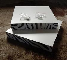 3 x Design REGALE*intergr.Befestig*weiss*ZEBRA*Rand* 25x25x3,8cm * B-WARE
