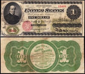"""VERY NICE 1862 $1 """"CHASE"""" GREENBACK Legal Tender Note! FREE SHIPPING! 15493"""