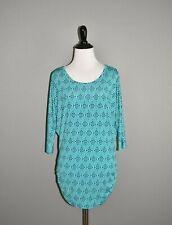 41HAWTHORN $59 Teal Geo Print Dolman Sleeve Blouse Top Small