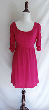 NWT Juicy Couture S Berry Pink Cerise #7 Tie Waist Dress Ruched Sleeve Jersey