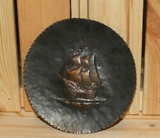 Vintage nautical copper wall hanging plaque ship