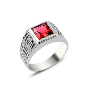 Men's Solid Silver 925k Ring with Red Cubic Zirconia