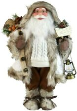 """Large Santa Figurine 16"""" Figure Woodland Doll Gift Cable Knit Sweater Windy Hill"""