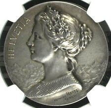 Swiss 1900 Silver Medal Shooting Fest France Paris R-2097b 37mm NGC MS62 Rare