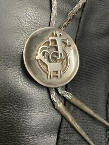 Vintage Native American Sterling Silver Stamped  Bolo Tie Man Spiral