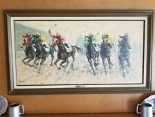 Into the Stretch Janet Kruskamp Original Oil Art Framed Signed Horse Racing