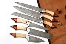 EST Custom made damascus steel 6Pc's kitchen/chef knife set with Leather rol bag
