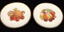 Jaeger & Co set of 2 fruit plates apple grapes pineapple gold trim Germany
