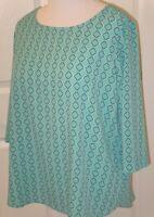 Womens Susan Graver Printed Woven 3/4 Sleeve Top - Jade/Navy - 20W