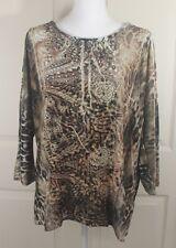 CHICO'S Velvet Sequin Animal Print Floral Art Lace 3/4 Sleeve Blouse Shirt Top 2