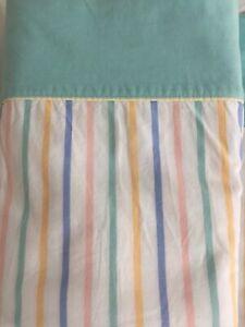 Vintage 1980s Flat Small DB Candy cane Stripe & Mint Cotton Sheet 188 x 240
