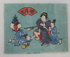 Noble men,beauty Japanese original woodblock print , shunga,