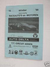1989 HISTORISCHE RACEAUTO'S EN MOTOREN TT CIRCUIT ASSEN 15-10 PROGRAMMA PJ61