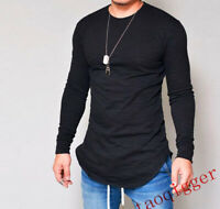 Men Slim Fit Round Neck Long Sleeve Muscle Tee Casual T-shirt Tops solid Blouses