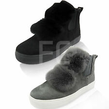 NEW WOMENS POM FUR SLIP ON GUSSET PUMPS SNEAKERS SKATERS TRAINERS SIZE HI TOP
