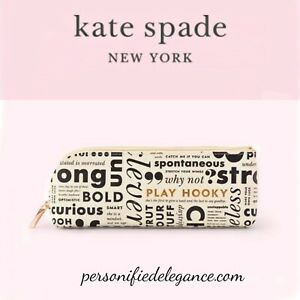 NEW Kate Spade Faux Leather What Do You Say Pencil Case $24