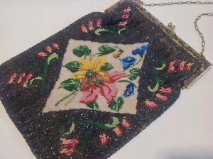 Antique Edwardian Large Embroidered micro Beadwork Needlework Flapper Bag.