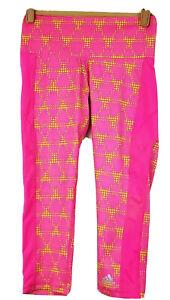 NWT Adidas Climalite Capri Leggings Mid Rise Spandex Pink Yellow  Sz Small