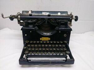 Antique Royal Typewriter Model 10 w/ Dark Beveled Glass Sides - Glass Keys