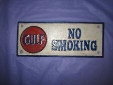 Gulf No Smoking Cast Iron Sign 9 1/2 x 4  Red White & Blue