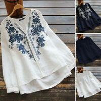 ZANZEA Women Long Sleeve Embroidered Crochet Shirt Tops High Low Loose Blouse US