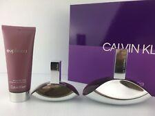 EUPHORIA CALVIN KLEIN GIFT SET PARFUM SPRAY 3.4 + 1.0 OZ + LOTION NEW IN BOX